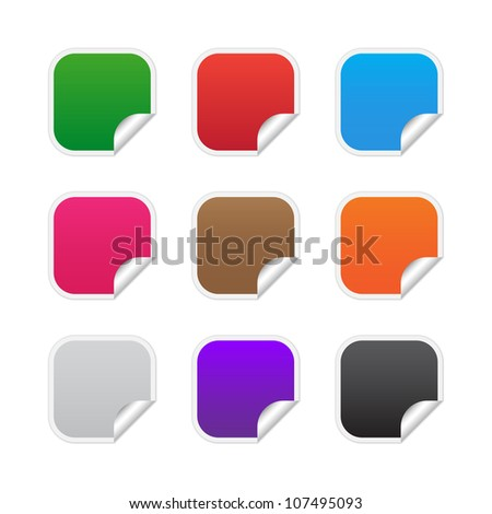 Colorful square labels. Vector available.