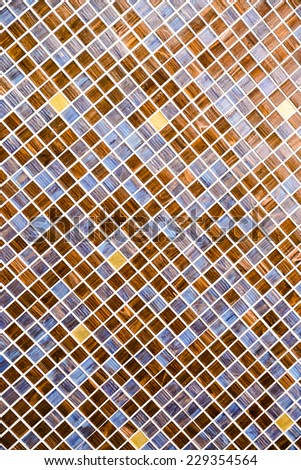 Colorful square mosaic wall in brown tone      - stock photo