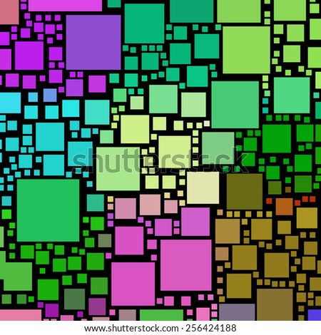 Colorful square shapes on a black background. - stock photo