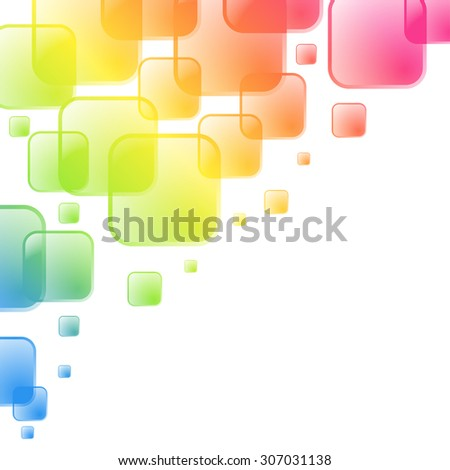 Colorful squares background with white copy space at the corner. - stock photo