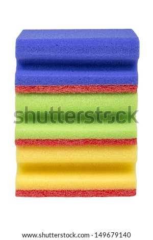 Colorful stack of household scourers isolated on white - stock photo