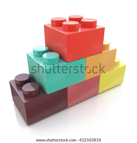 Colorful stacked toy plastic building blocks isolated on white background in the design of the information associated with the development strategy of abstraction. 3d illustration - stock photo