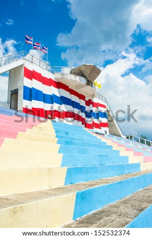 colorful stadium seat sport of thailand on sky - stock photo