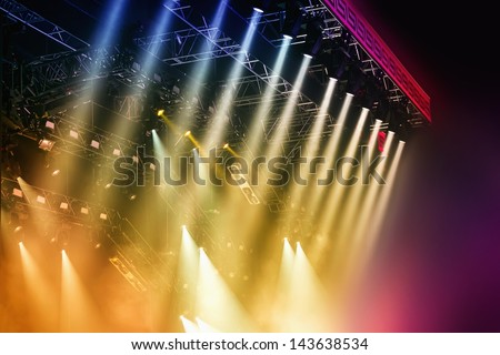 Colorful Stage lights at concert - stock photo