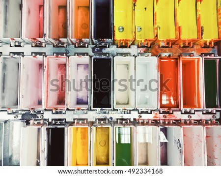 Colorful stains in a histology lab for staining sections of tissue for diagnosis