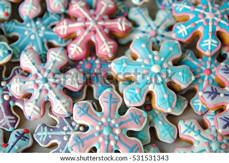Colorful star cookies collection