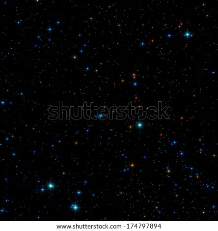 Colorful star-field on a dark background. - stock photo