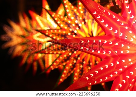 Colorful Star shaped Lanterns for sale for Diwali and Christmas festivals, in India - stock photo