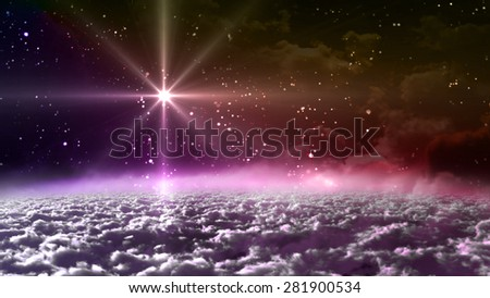 colorful starry night with star planet, it is representing the chrismas theme - stock photo
