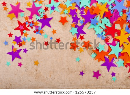 colorful stars on old retro paper background
