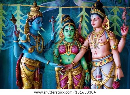 Colorful statue of Hindu God in Batu caves Indian Temple, Kuala Lumpur, Malaysia - stock photo