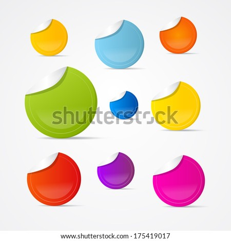 Colorful Stickers, Labels Isolated on Grey Background - Also Available in Vector Version