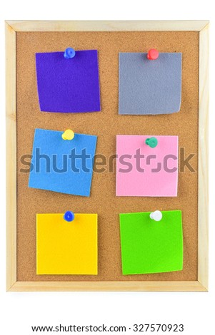 Colorful sticky notes on cork bulletin board with space for text