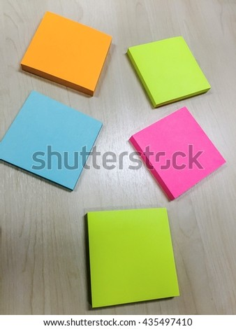colorful sticky notes on the table - stock photo