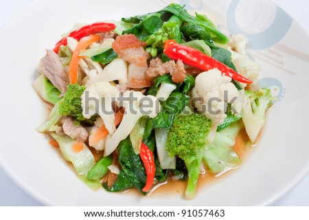 Colorful Stir fried Mixed Vegetable with pork, Thai style favorite dish - stock photo