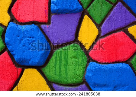 Colorful stone block wall background - stock photo