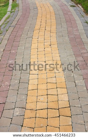 Colorful Stone pathway in the park