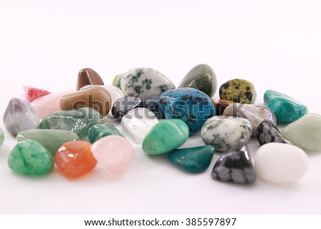 colorful stones on white background
