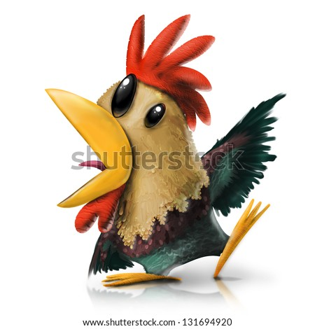 Colorful Strange Rooster Illustration Isolated on White Background - stock photo