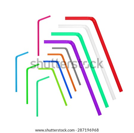 colorful straw drinking collection - stock photo