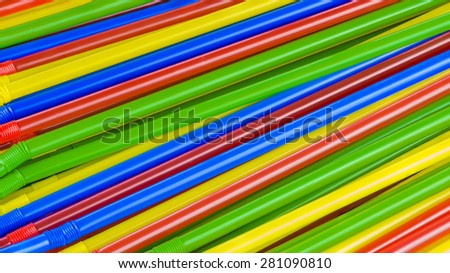Colorful straw tubes  closeup. Abstract texture and background.