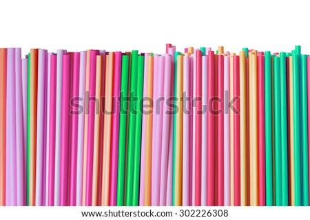Colorful straws isolated on white background - stock photo