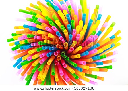 Colorful straws  on a white background, top  view - stock photo