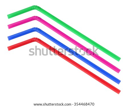 Colorful straws on white background