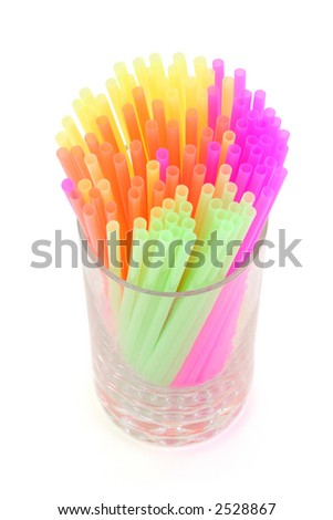 colorful straws with white background