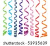 Colorful streamers isolated on white - stock photo