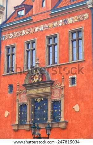 Colorful street facade of a building in Prague Old Town, Czech Republic - stock photo