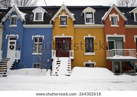Colorful street of Montreal Canada - stock photo