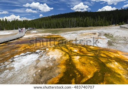 Colorful structure of the spring. Upper Geyser Basin, Yellowstone National Park, Wyoming