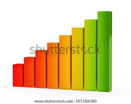 colorful success energy graph on white background - stock photo