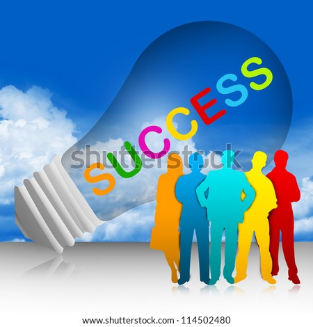 Colorful Success Text Inside The Light Bulb For Job and Business Concept in Blue Sky Background - stock photo