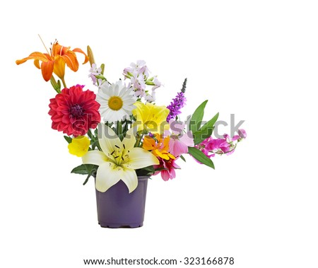 Colorful Summer flower bouquet from homegrown garden - stock photo