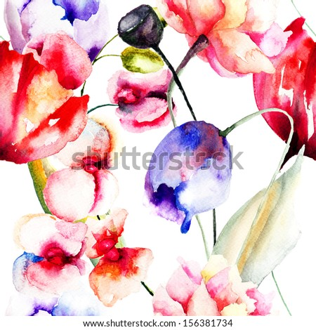 Colorful summer flowers, seamless pattern, watercolor illustration  - stock photo