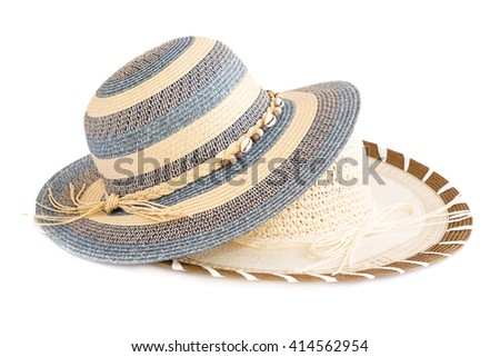 Colorful summer hats isolated on white background. - stock photo