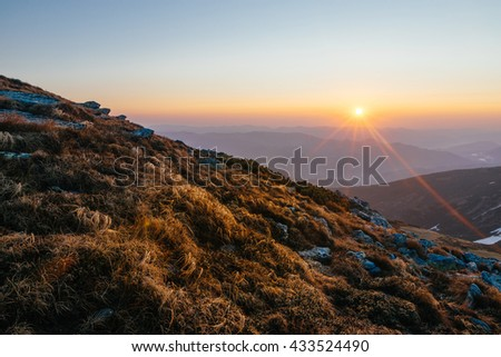 Colorful summer landscape in the mountains. Sunset in the mountains. Sunrise in the mountains - stock photo