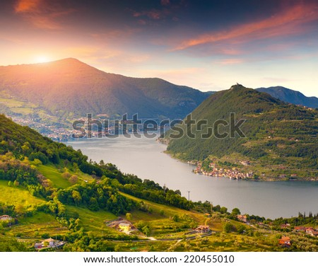 Colorful summer morning on? the Lake Iseo. Italy, Alps. - stock photo