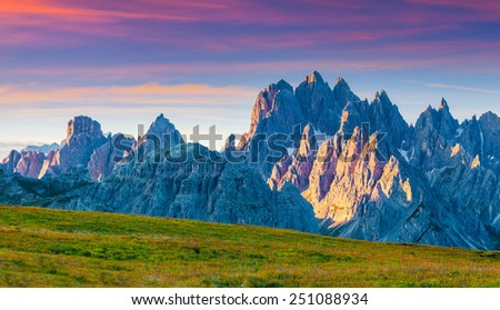 Colorful summer panorama of the Monte Piana mountain range in National Park Tre Cime di Lavaredo. Dolomites, South Tyrol. Location Auronzo, Italy, Europe - stock photo