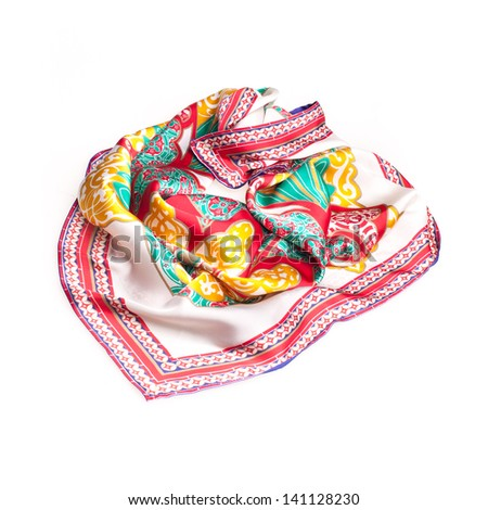 colorful summer scarf isolated on white - stock photo