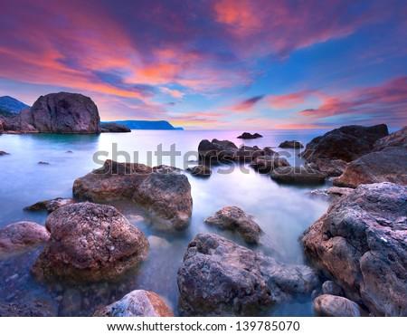 Colorful summer seascape - stock photo
