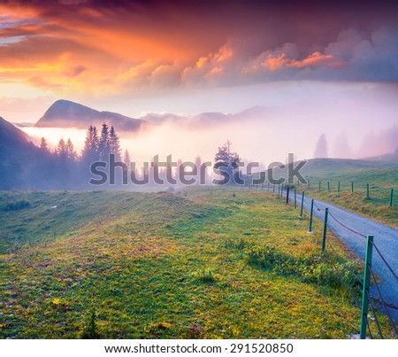 Colorful summer sunrise in the foggy mountains. Triglav national park, Slovenia, Julian Alps, Europe. - stock photo