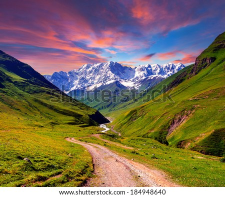 Colorful summer sunrise in the high mountains - stock photo