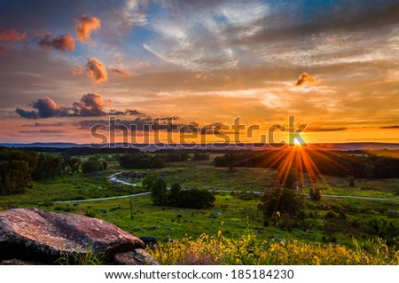 Colorful summer sunset from Little Roundtop in Gettysburg, Pennsylvania - stock photo