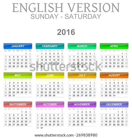 Colorful Sunday to Saturday 2016 Calendar English Language Version Illustration - stock photo