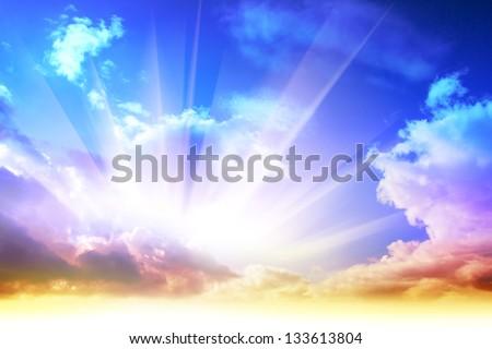 Colorful sunrise and sun light - stock photo