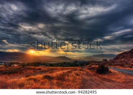 Colorful sunrise in Osoyoos Okanagan Valley - stock photo