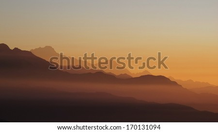 Colorful sunrise in the Himalayas - stock photo